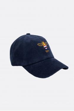 An Ivy Navy Bee Corduroy Cap