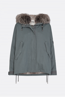 Yves Salomon Army Short Trimmed Fur Parka