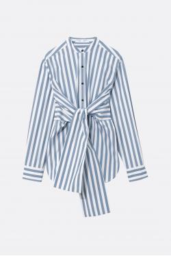 Proenza Schouler White Label Stripe Poplin Tied Shirt