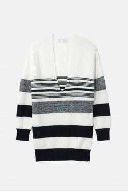 Proenza Schouler White Label Lofty Stripe Oversized V-Neck Sweater