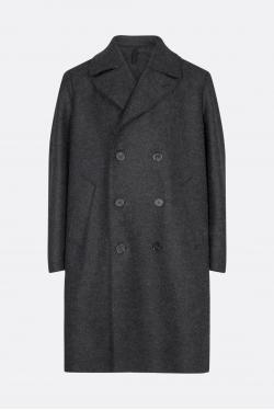 Harris Wharf Long Peacoat Pressed Wool Coat